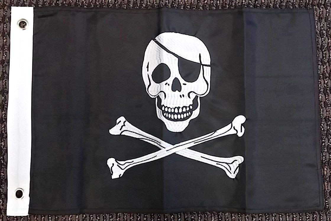Pirate Jolly Roger Nylon Embroidered 12x18 Inch Boat Flag Skull Banner New Banner House Banner Double Stitched Fade Resistant Premium Quality