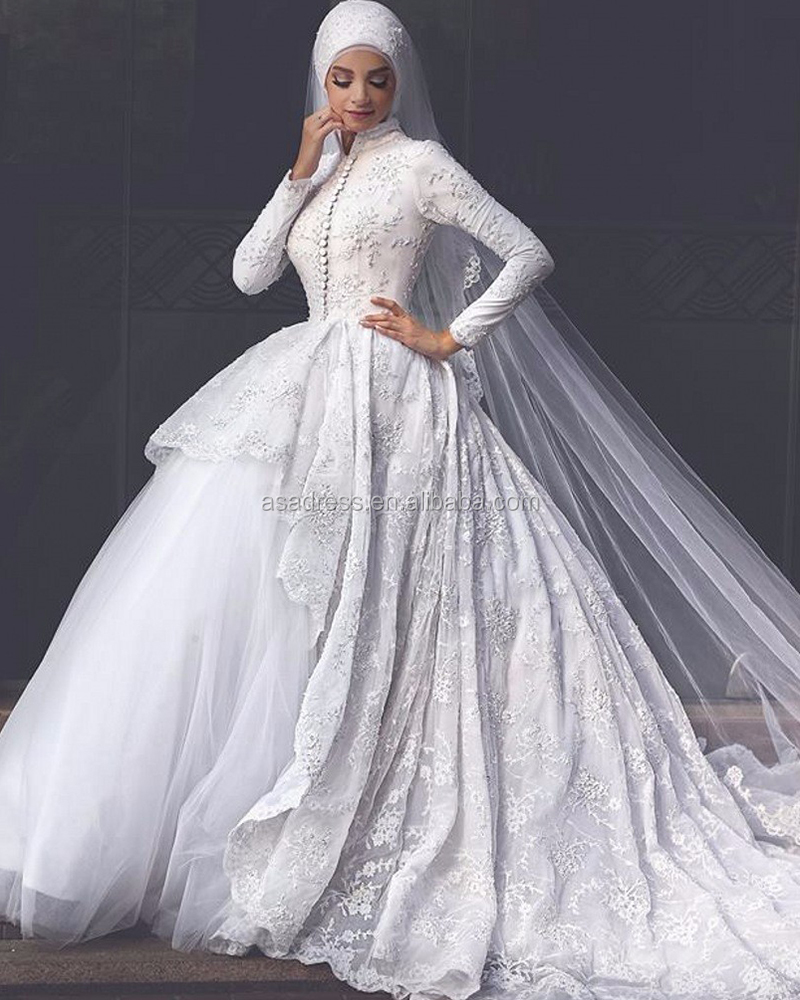 Musl-1890 Newest White Arab Long Sleeve Gelinlik Beading Bridal ...