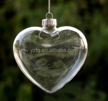 China manufacture christmas ornament glass heart decor /wholesale clear christmas ornament glass heart decoration