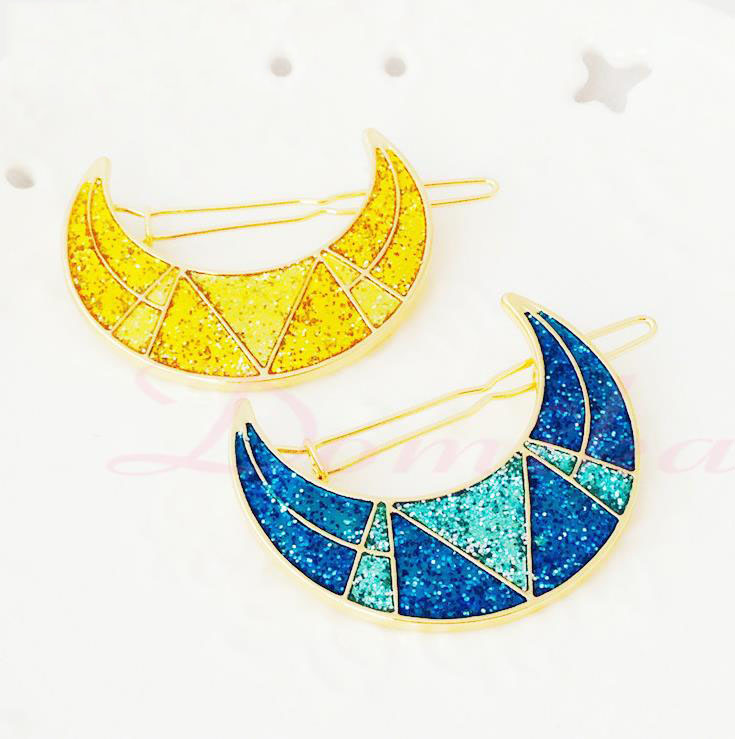 Best selling European style girl's Lovely sweet wind hair ornaments Drop the oil moon Hair Accessories Hair Clips