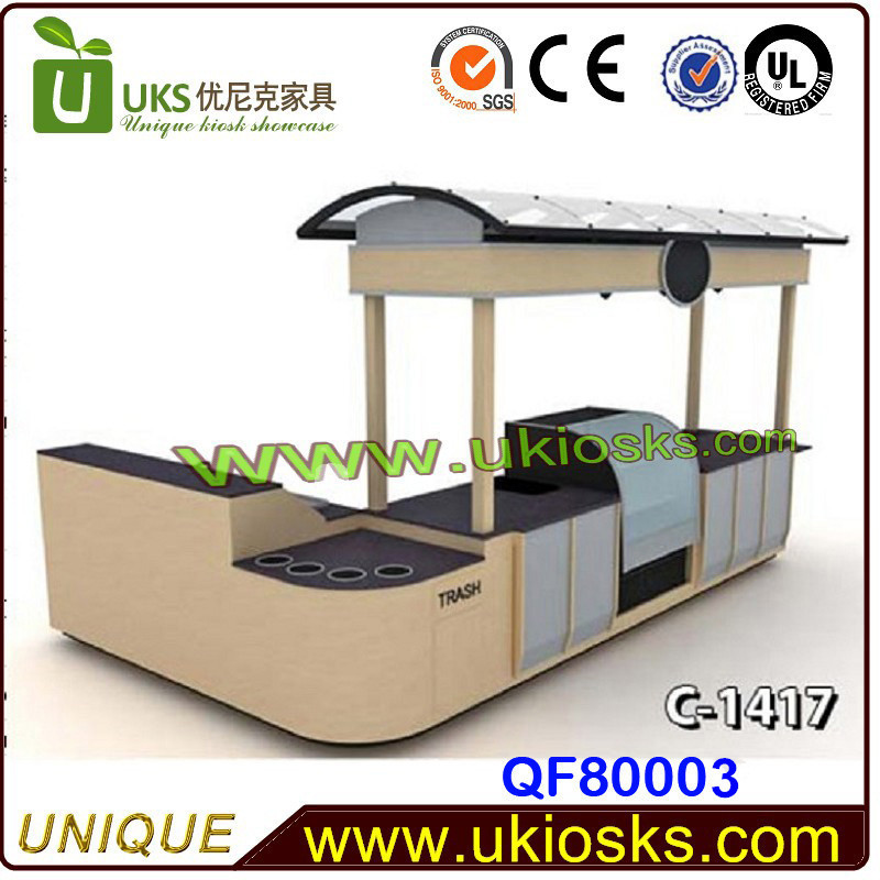 Mobile Fryer Food Cart Outdoor Wooden Kiosk Display