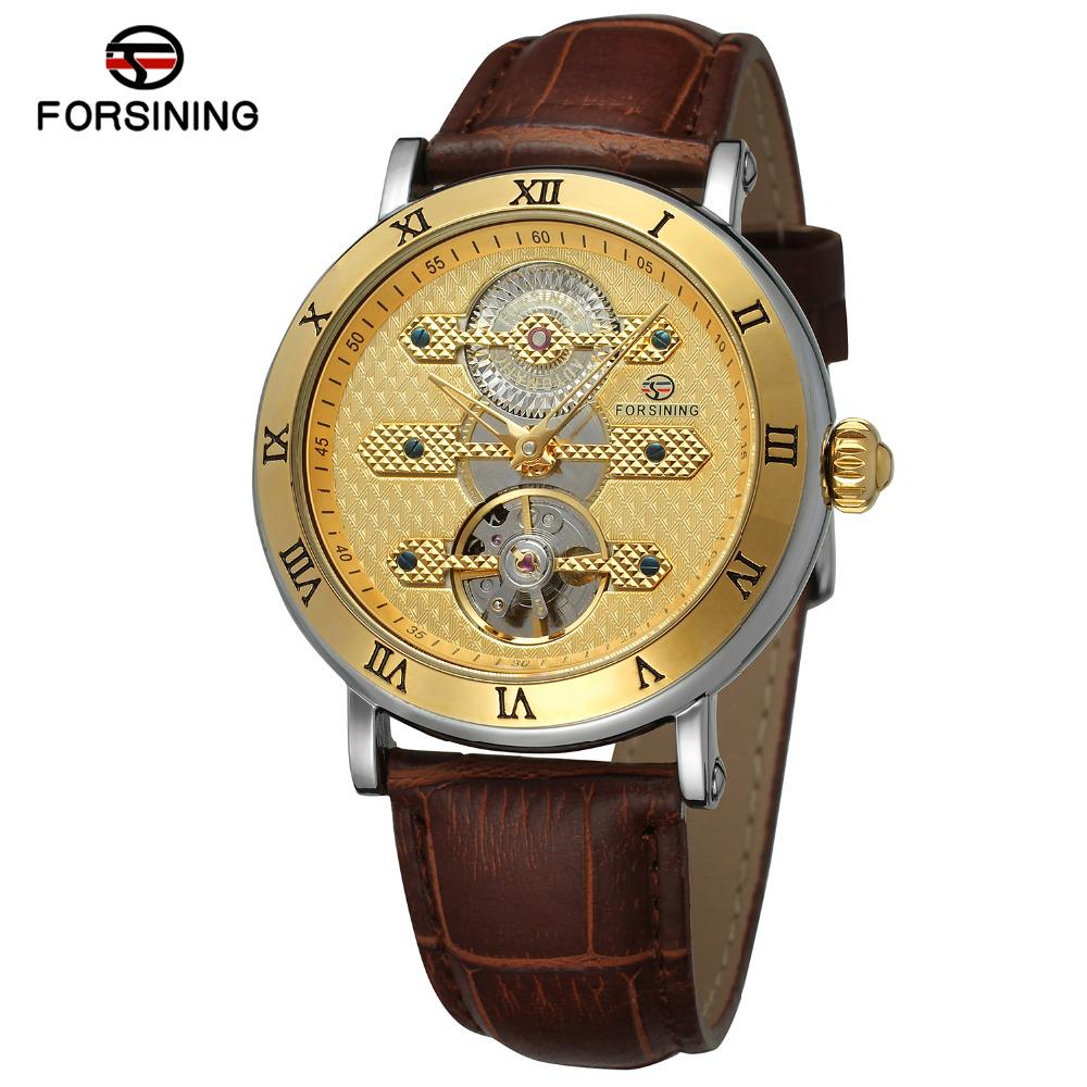 frosining fsg orologio uomo marrn negro de cuero genuino correa de reloj de pulsera automtico marca