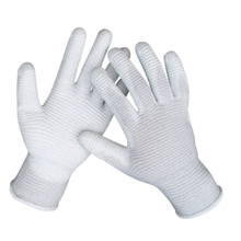 PU coated polyester gloves on finger, antistatic working gloves