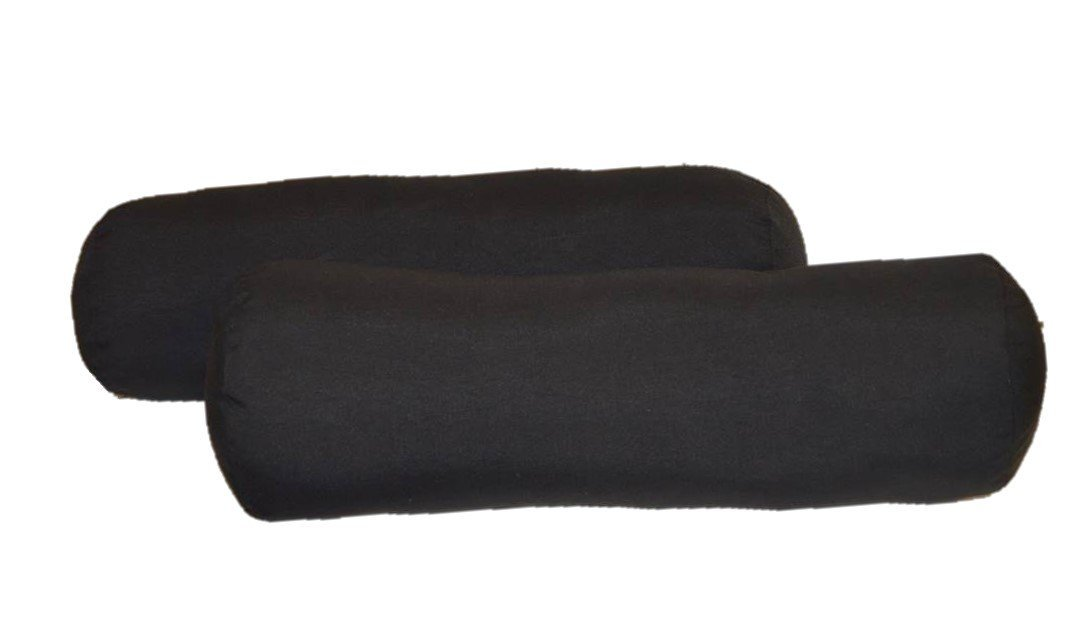 Set of 2 - Indoor / Outdoor Jumbo, Large, Over–sized, Bolster / Neckroll / Lumbar Chaise Lounge Decorative Pillows - Solid Black