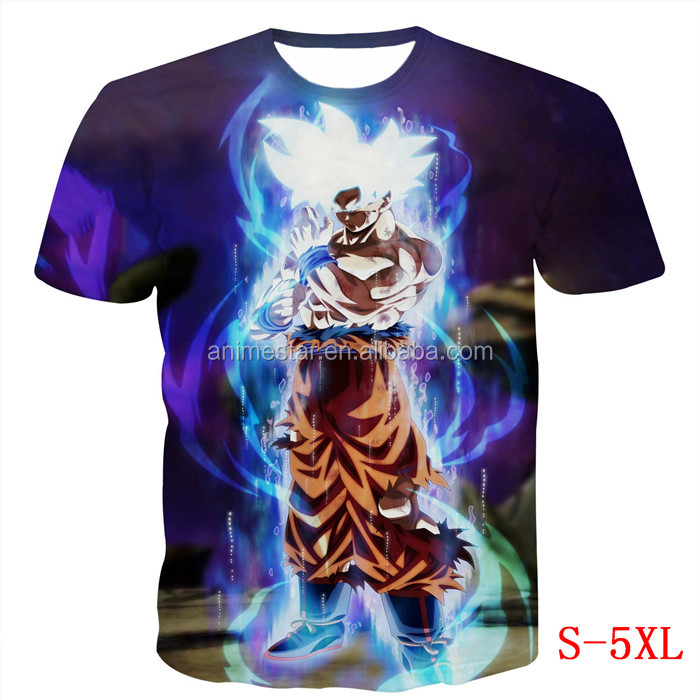 Estate Casuale Delle Donne/Uomini Anime tee shirt Dragon Ball Z Super Saiyan 3D t shirt Goku t shirt