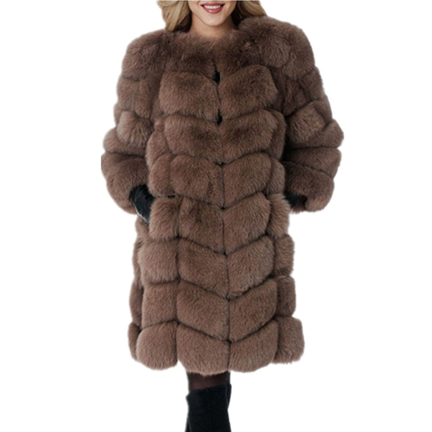 Women Long Fake Fox Fur Jacket Coat Winter Warm Faux Fox Fur Jackets Outwear Furry Fur Coat