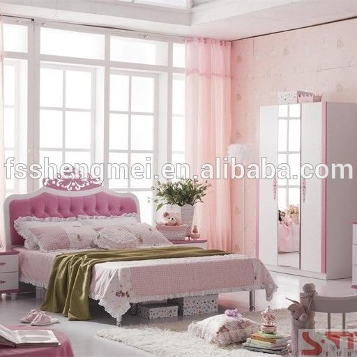 Hot Sale Luxury Turkish Children Bedroom Sets Pink Color Kids Room Furniture