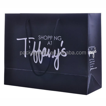 Custom Printed No Minimum Navy Blue Ping Paper Bags With Your