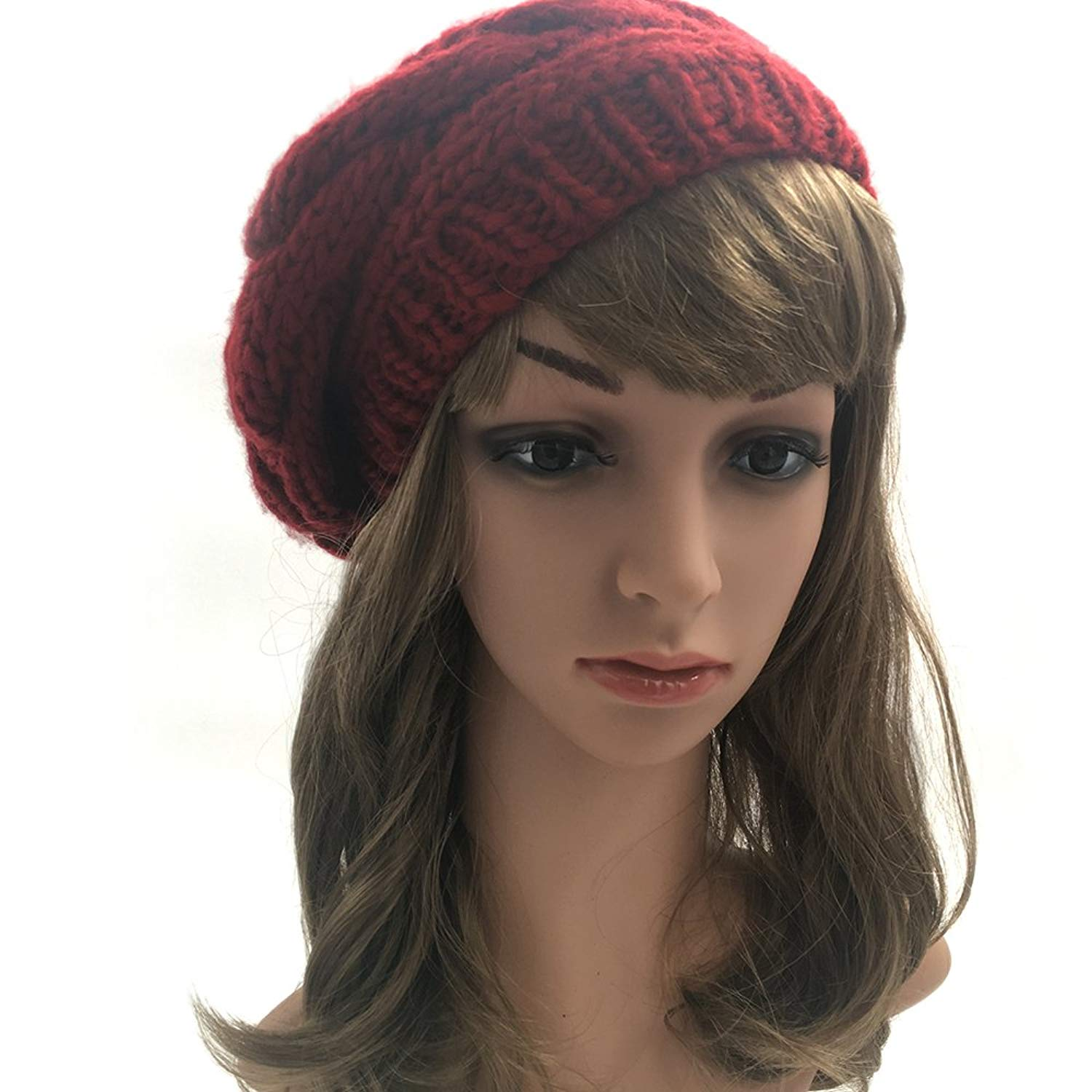 JULY SHEEP Womens Girls Winter Knitted Hat Wool Beret Pompom Hat Slouchy Beanie with Real Fox Fur Ball Ski Cap
