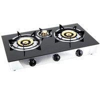 Custom brand glass cooktop 3 burner gas stove brass+ Infrared