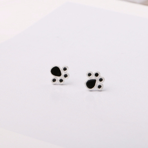 Fashion New Silver Plated Dog Cat Paw Stud Earrings Cute Animal Baby 925 Lovely Jewelry Foot Print Brincos Wholesale Accessories