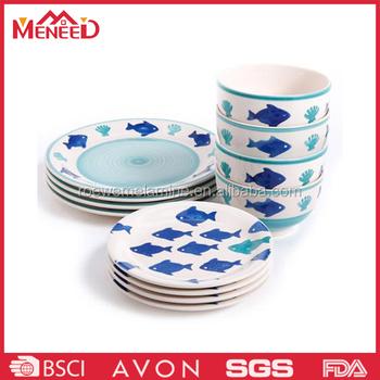 Fish print melamine plates u0026 bowls plastic inexpensive dinnerware  sc 1 st  Alibaba & Fish Print Melamine Plates u0026 Bowls Plastic Inexpensive Dinnerware ...