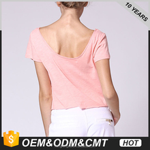 Backless Sexy Tops Casual Women T Shirt Cotton Pink Crop Top Tee Shirts