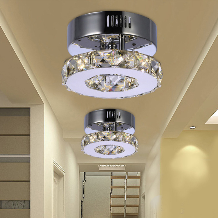 New Modern decorating Aisle Porch Lamp Stainless Steel crystal Ceiling led corridor light