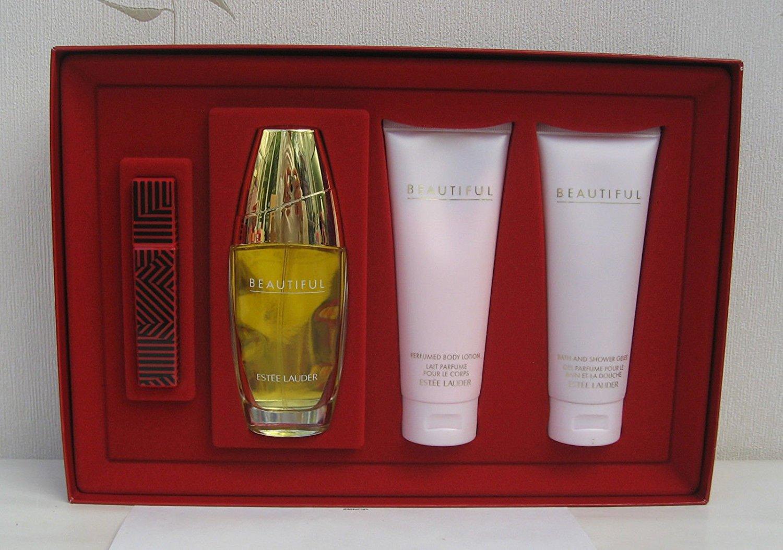 Estée Lauder 'Beautiful Romantic Destinations' Set (Limited Edition) = Eau de parfum spray (2.5 oz.) = Eau de parfum rollerball pen (0.2 oz.)=Perfumed body lotion (3.4 oz.)=Bath and shower gelée (3.4 oz.)