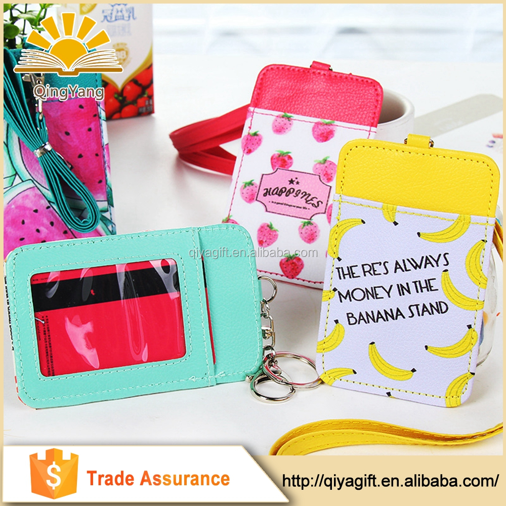 office customized logo pu ID badge card holder with long neck strap band Lanyard