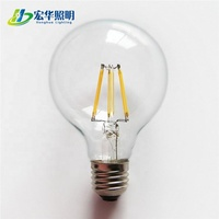 G80 6W clear glass cover long life LED filament bulb for house decoration