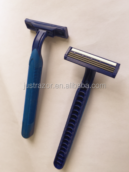 Triple blades razor . fixed head. rubber handle. stainless steel blade. higher quality