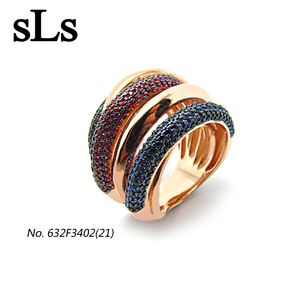 zircon 925 silver jewelry wholesale India fashion rose gold plated with colored three stones rings for women