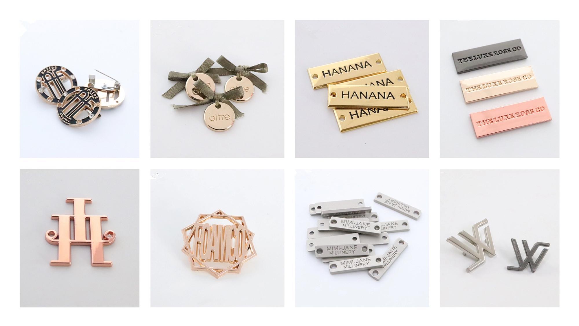 Etiqueta feita sob encomenda do logotipo da marca do metal acessório do hardware do saco 2018 para bolsas / chapéu / carteira