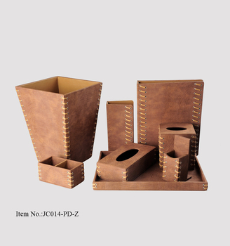 Genial Luxury Design Wholesale Wooden Leather Bathroom Accessories Set