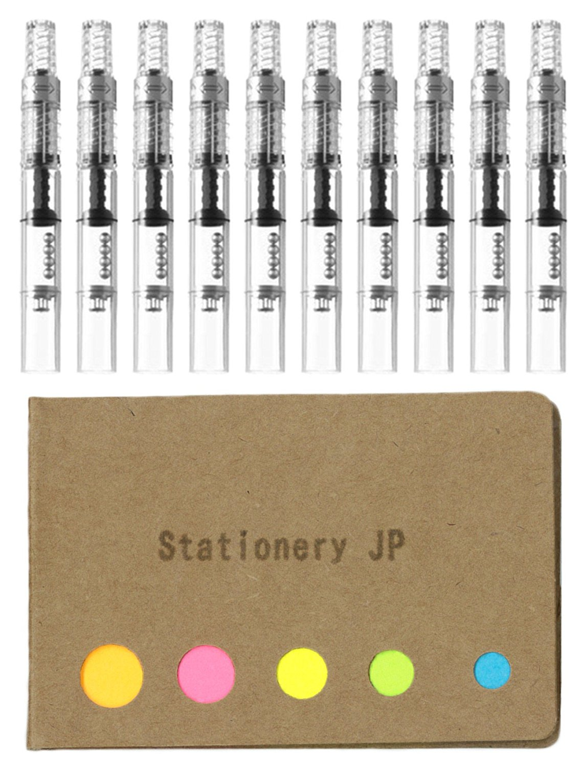 Pilot Fountain Pen Ink Converter (CON-40), Screw Type, 10-pack, Sticky Notes Value Set