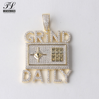 Custom made words grind and daily calculator 925 sterling silver custom made words grind and daily calculator 925 sterling silver micro pave hip hop jewelry aloadofball Gallery