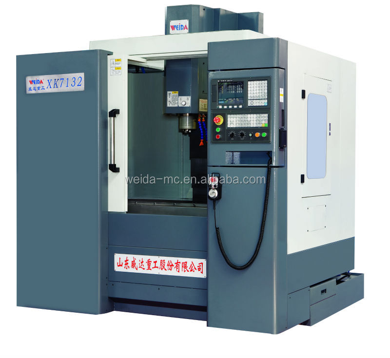 China manufacturer WEIDA small cnc vertical milling machine XK7132 with fanuc or siemens or GSK cnc controller no tools magazine