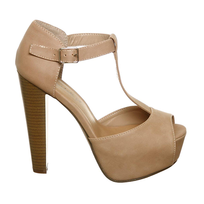 f35c4f87a81 Breckelles Women s BRINA-21 Peep Toe High Heel T-Strap Platform Sandals