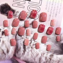 Накладные ногти для дизайна ногтей, 24 шт./компл., модные короткие Типсы для ногтей, накладные ногти с клеем(Китай)