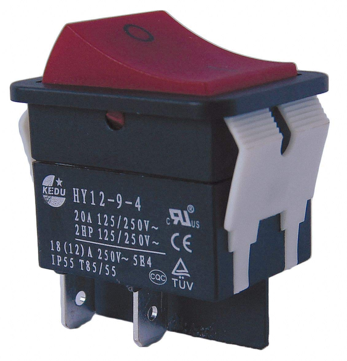 """Rocker Switch, Contact Form: DPST, Number of Connections: 4, Terminals: 0.250"""" Quick Connect Tab - Pack of 5"""