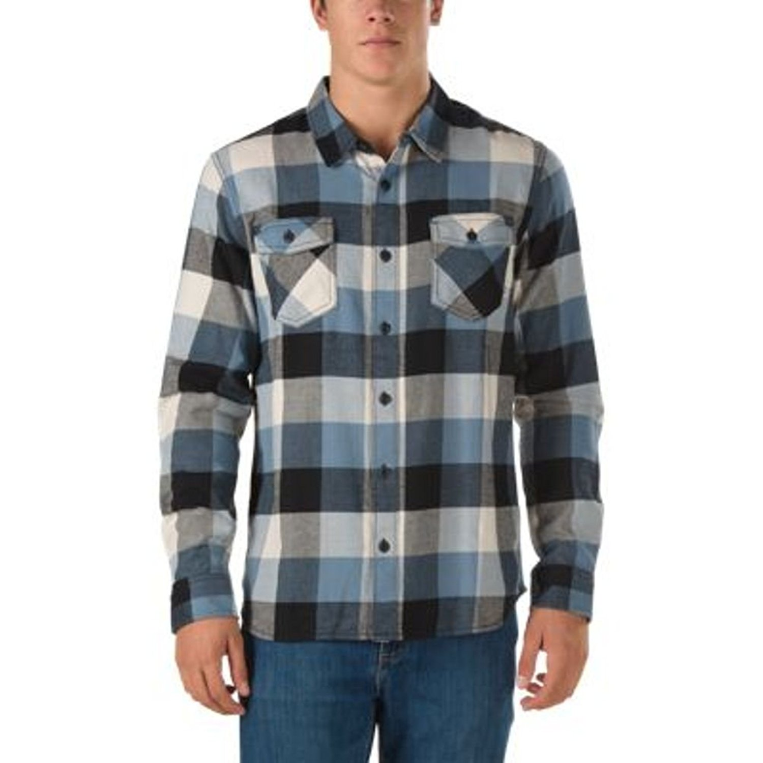 df416ddc6 Get Quotations · Vans Men s Box Flannel Plaid Long Sleeve Shirt (Large