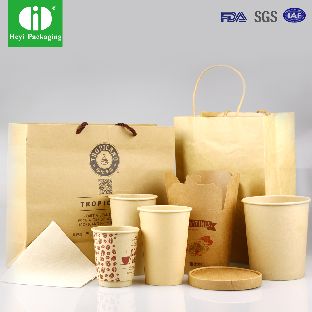 kraft paper coffee cup/kraft paper bag/kraft paper bowl with custom logo printed