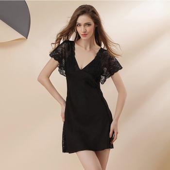 cf93d01c045c10f 2019 весна лето дизайн шелковые ночные рубашки сексуальные кофта с  v-вырезом платье короткие кружева