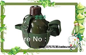 Hiking China army Old fashioned metal aluminum hiking kettle with rope aluminum water bottle back water bottle camping kettle