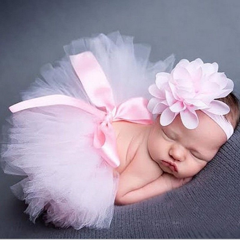 Infant Newborn Baby Girl Clothes Girls Flower Headband Mesh Ball Gown Tutu Skirts Photography Prop Baby Clothing Set AU020929