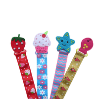 Custom High Quality Lovely Color Polka Dot Ribbon Chain Baby Pacifier Holder Clip