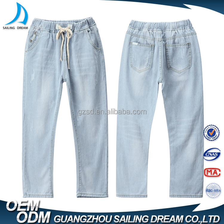 OEM custom bulk wholesale unique design elastic waistband denim jeans trousers