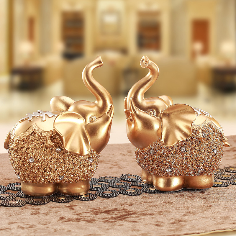 home decor luxury Golden Diamond Animal Statues Elephant Polyresin for Decoration and Gifts