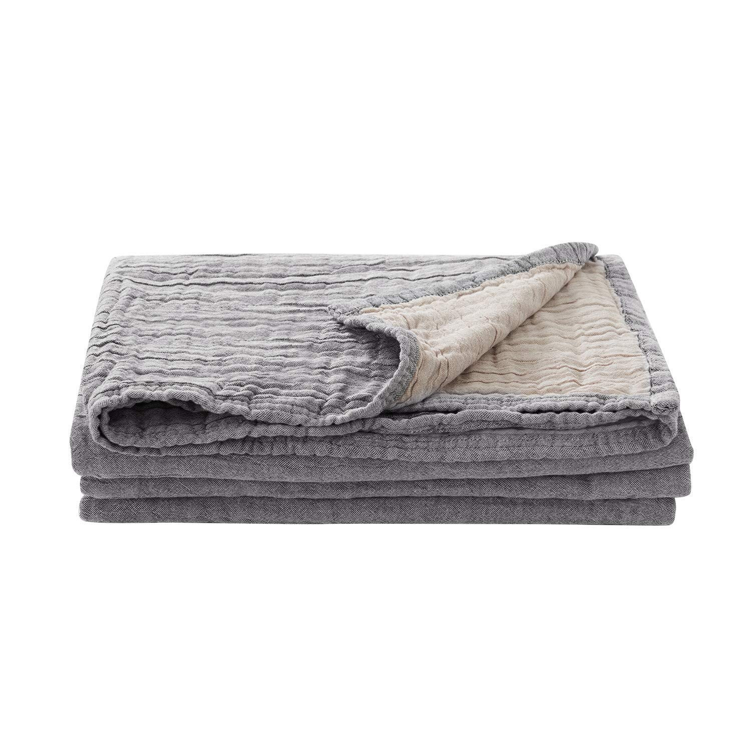 Joywell 100% Premium Breathable Cotton Thermal Blanket-Super Soft, Cozy and Warm for All Seasons, for Bed&Couch (D-Light Gray, Twin)