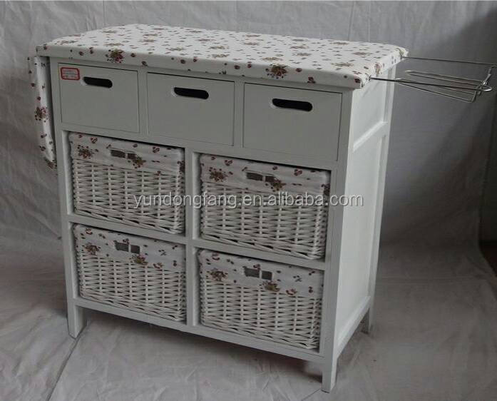 Folding Solid Wood Ironing Board Table With Storage Drawer
