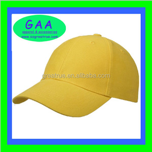 100% cotton 6 panel plain ball caps in yellow