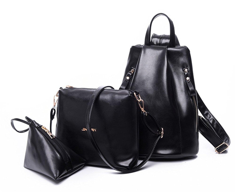 YAAGLE PU Casual Multifunction Anti-wear Backpack+Shoulder bag+Handbag,3 Pcs