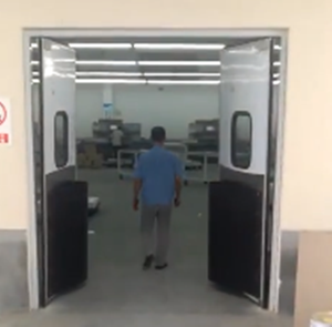 Cold room free door swing opening pu insulated shopping mall kitchen stainless steel food factory free impact door