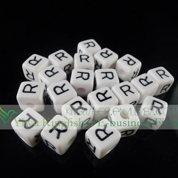 Jewelry Square Shape Single Letter R Alphabet Beads,Acrylic ...