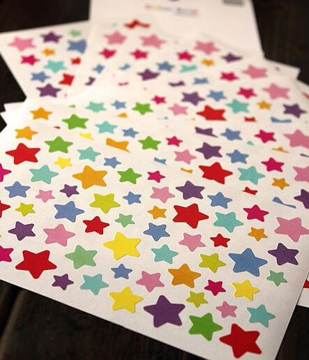 Stock Color Seal Sticker for Envelope DIY Paper Rainbow Sticker Round Heart n Stars 1 set = 6 pcs