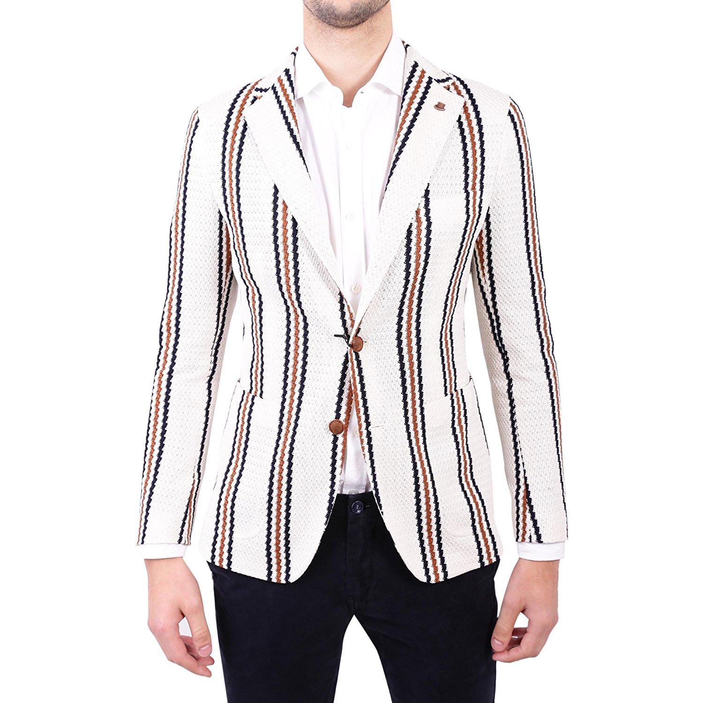 TAGLIATORE Men's 1SMJ22K57YEJ109M1230 White Cotton Blazer