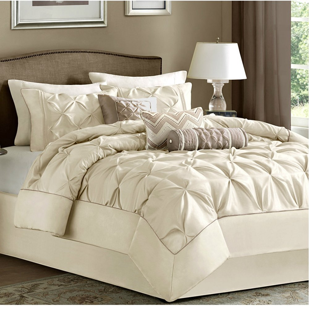 7 Piece Comforter Set Queen Size Ivory Luxury Modern Bedding on Clearance Sale