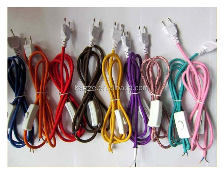 유럽 Standard Fabric Wire Set Cable 와 Plug 및 Switch