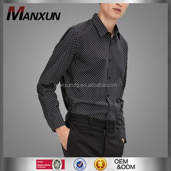 Latest Design Customized Mens Stitch Polka Dot Print Shirt Long